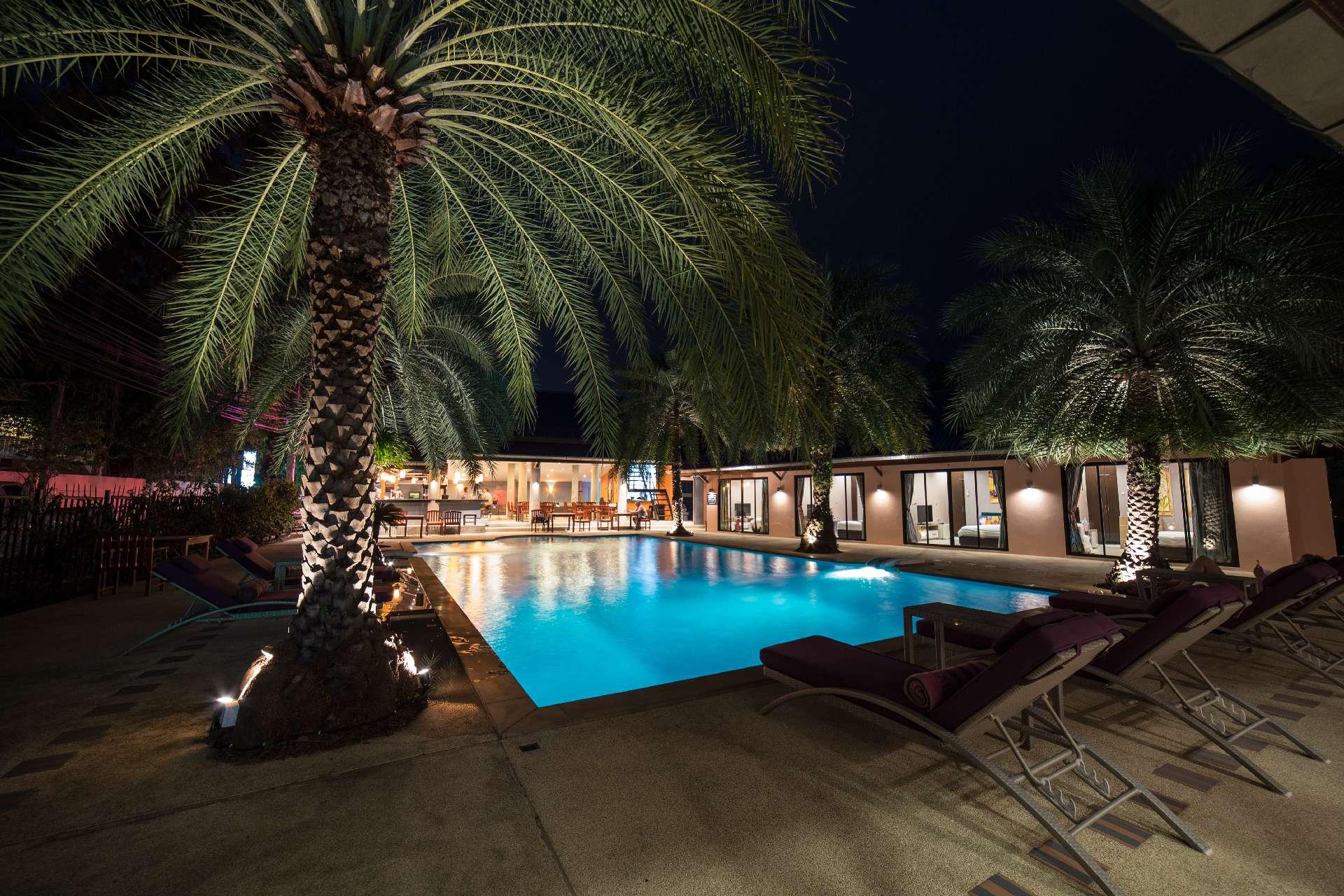 Night shot of the swimming pool - Ma Maison Phuket in Bang Tao Beach 009